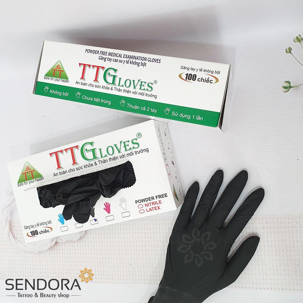 Găng tay y tế màu đen dùng trong: Chế biến thực phẩm, khám bệnh, làm đẹp