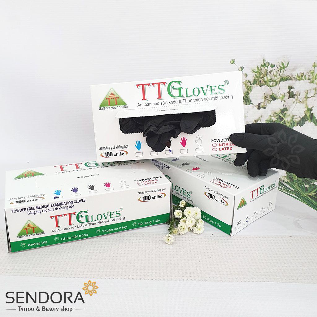 Găng tay y tế không bột màu đen TTGloveS Nitrile