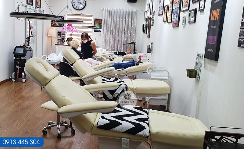 setup 5 Giường thẩm mỹ chỉnh điện màu kem cho thẩm mỹ viện