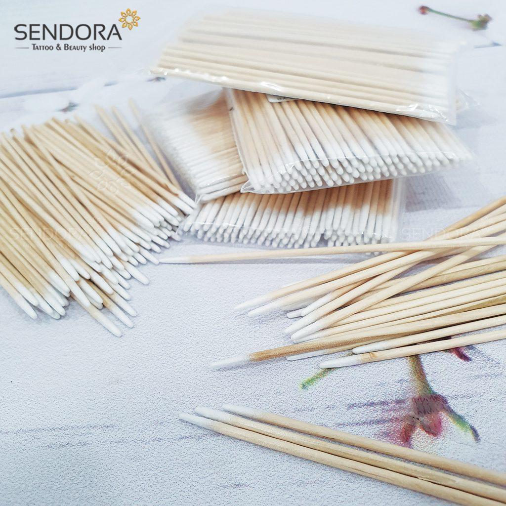 Tăm bông gỗ viền nét dùng trong phun xăm thẩm mỹ