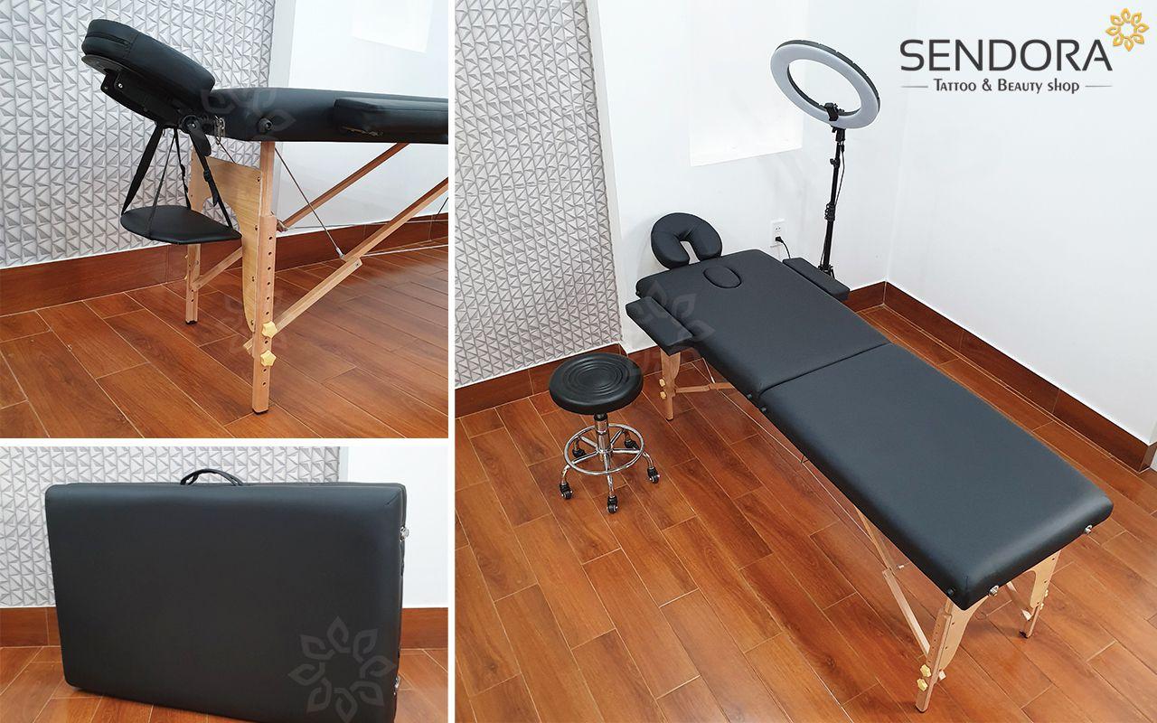 giường massage spa chân gỗ giá rẻ