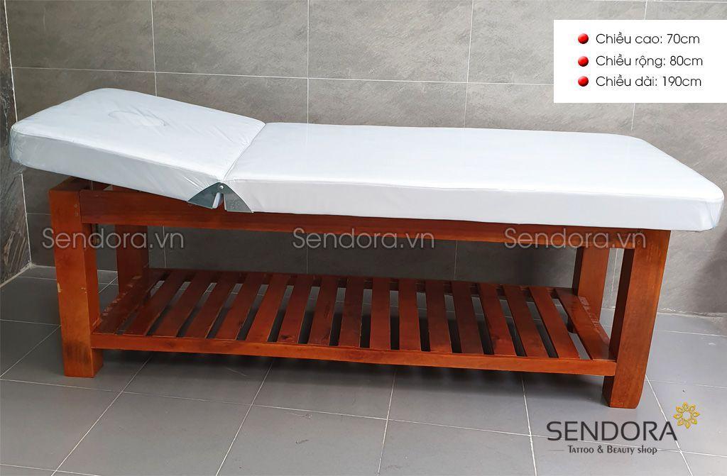 Giường spa gỗ đẹp massage có thể nâng đầu