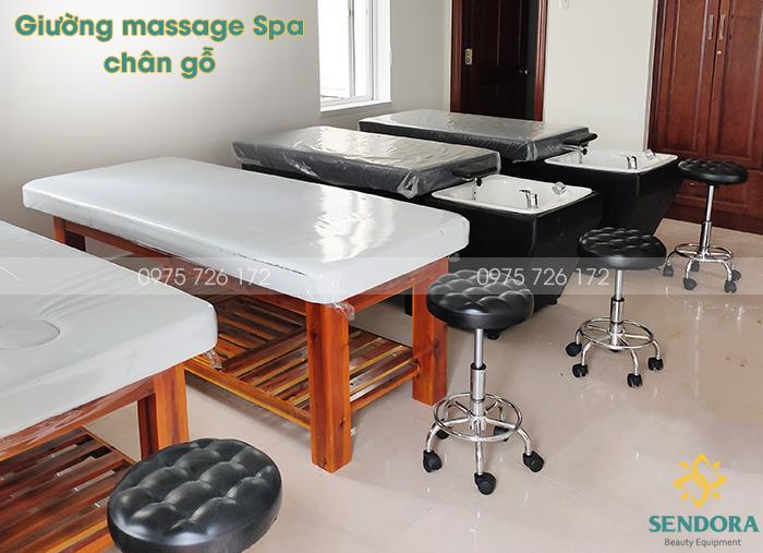 2 loại giường massage spa chân gỗ bền chắc giá tốt nhất TPHCM