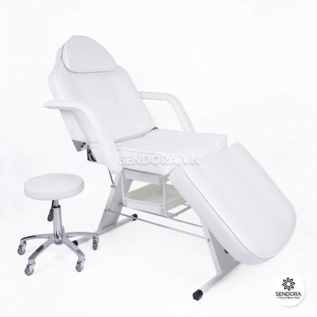 Bộ giường ghế tiêm Filler cao cấp 3558&9260 – Màu trắng