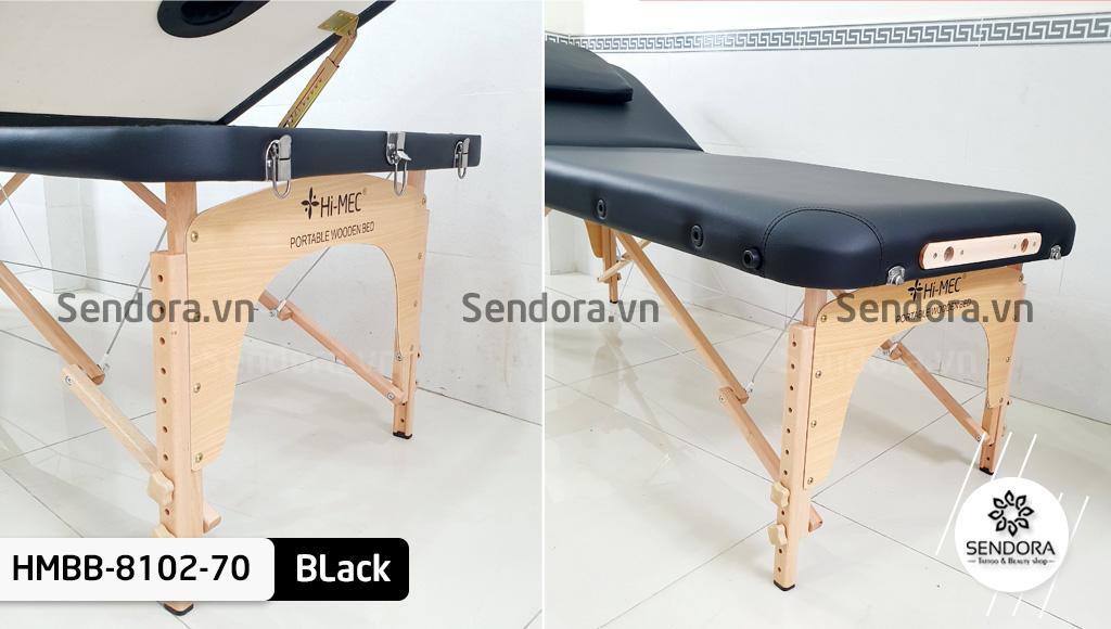 Chi tiết in thương hiệu Hi-Mec trên đầu và chân giường vali