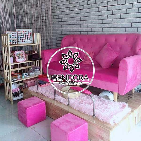 Bộ ghế nail băng dài màu hồng