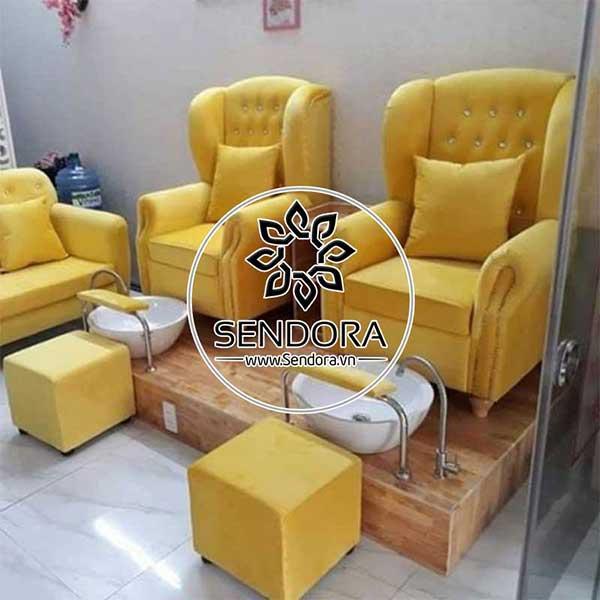 Mẫu ghế nail bọc vải chân gỗ đẹp và tốt nhất 2021