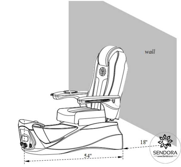 Khoảng cách giữa ghế Pedicure và tường khoảng 18 inch