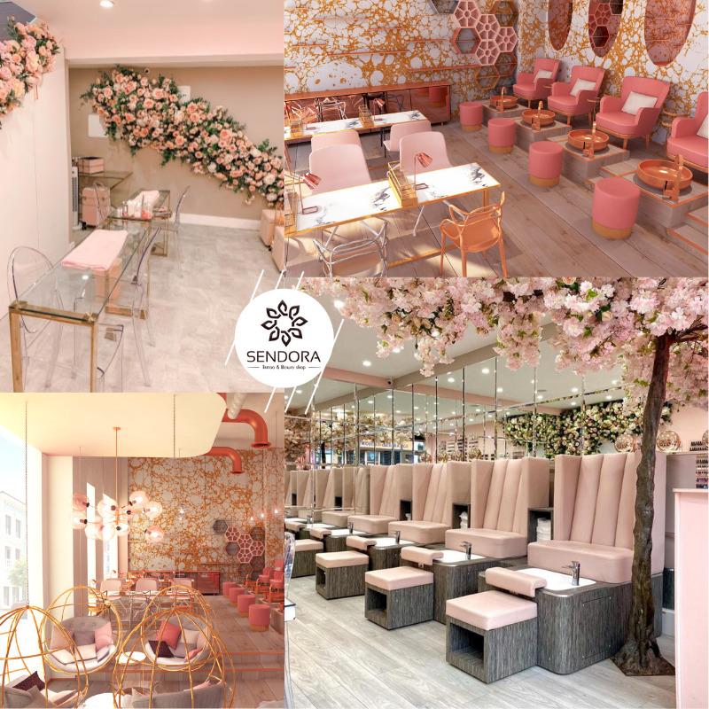 Tiệm Nail được decor màu hồng cực sang trọng