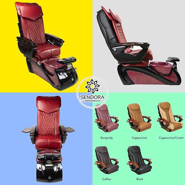Ghế Pedicure Spa Alessi II EX gồm 5 màu là màu đỏ tía, màu Cappuccino, màu kem Cappuccino, màu cà phê và màu đen.