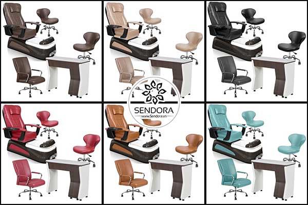 Một bộ bàn ghế nail đầy đủ thường bao gồm ghế Pedicure, ghế ngồi làm nail, ghế thợ nail tay, ghế thợ nail chân, bàn làm nail và tủ đựng dụng cụ nail