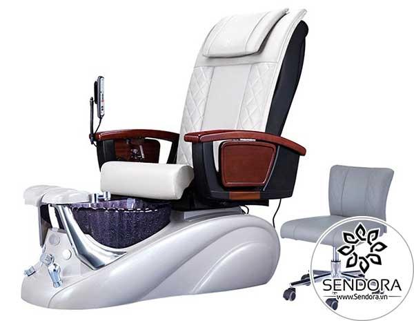 Mẫu ghế làm nail có massage cao cấp màu trắng