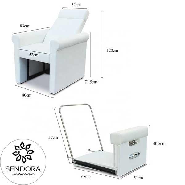 Kích thước phần ghế và kệ gác chân làm móng của ghế nail giá rẻ Hi-MEC