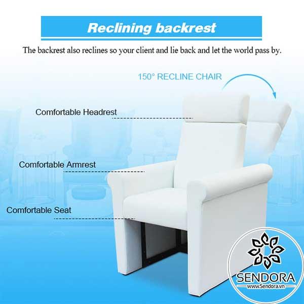 Ghế Pedicure giá rẻ Hi-MEC mẫu 1 có thể ngả lưng về phía sau đến 150 độ