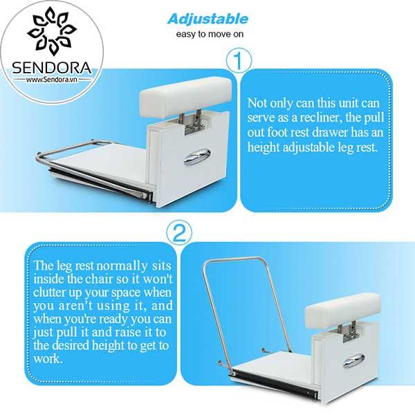 Kệ gác chân làm móng có thể thay đổi chiều cao theo ý muốn, đồng thời có khả năng xếp gọn vào ghế sofa nail Hi-MEC giá rẻ mà không lo chiếm dụng không gian