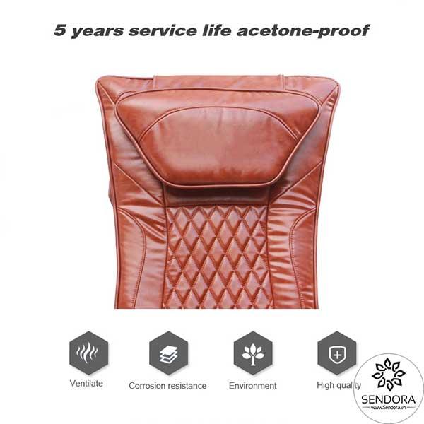 Chất liệu da trên ghế bằng vật liệu Polyurethane cao cấp kháng axeton cực tốt, tuổi thọ cao có thể lên đến 5 năm
