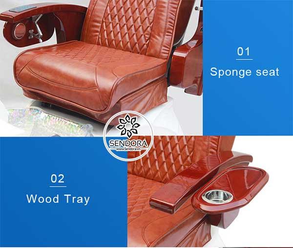 Phần đệm ngồi có thể di chuyển tới hoặc lùi, tay vịn bằng gỗ được tích hợp thêm khay làm móng tích hợp giá đựng cốc có thể gấp gọn