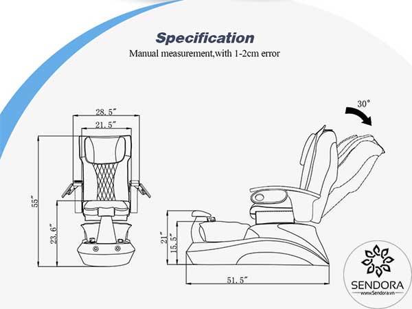 Kích thước các chiều trên ghế Pedicure cao cấp Hi-MEC mẫu 10
