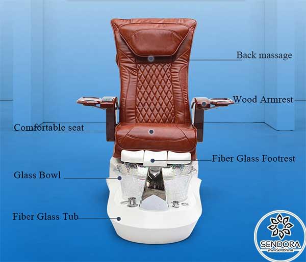 Các bộ phận chính trên ghế nail massage cao cấp Hi-MEC mẫu 10