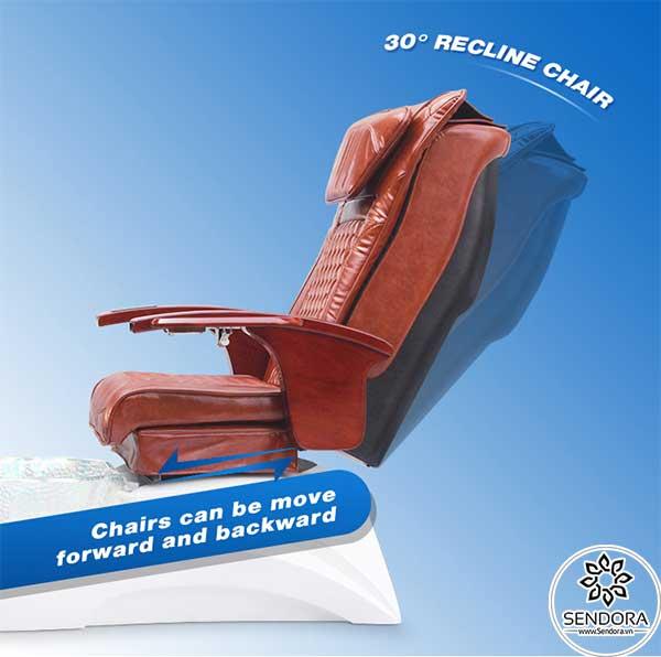 Ghế có thể ngả ra sau thêm 30 độ để tăng sự thoải mái khi ngồi trên ghế