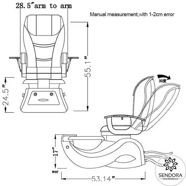 Kích thước các chiều của ghế massage nail cao cấp Hi-MEC mẫu 8