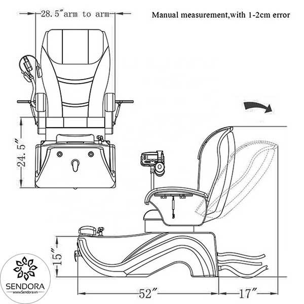 Kích thước các chiều của ghế massage nail cao cấp Hi-MEC mẫu 9