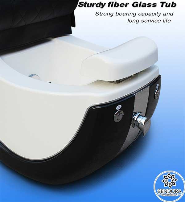 Ghế nail massage cao cấp Hi-MEC mẫu 9 được trang bị bồn ngâm chân bằng chất liệu nhựa cao cấp gia cố bằng sợi thủy tinh