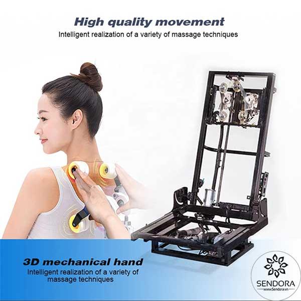 Hệ thống con lăn 3D cơ học giúp mô phỏng kỹ thuật massage ấn huyệt Shiatsu