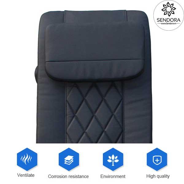 Da bọc đệm ghế nail cao cấp Hi-MEC mẫu 9 bằng chất liệu PU có khả năng kháng axeton rất tốt, giúp cho màu sắc luôn bền đẹp như mới, khó rách