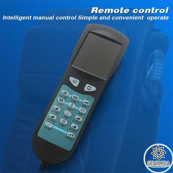 Remote điều khiển trên ghế Spa Pedicure Hi-MEC mẫu 9 giúp kiểm soát các chức năng trên ghế như massage ấn huyệt, hẹn giờ massage, nâng hạ lưng,...