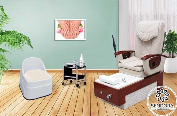 Phối cảnh ghế massage làm nail Hi-MEC mẫu 11 kết hợp với các vật dụng khác