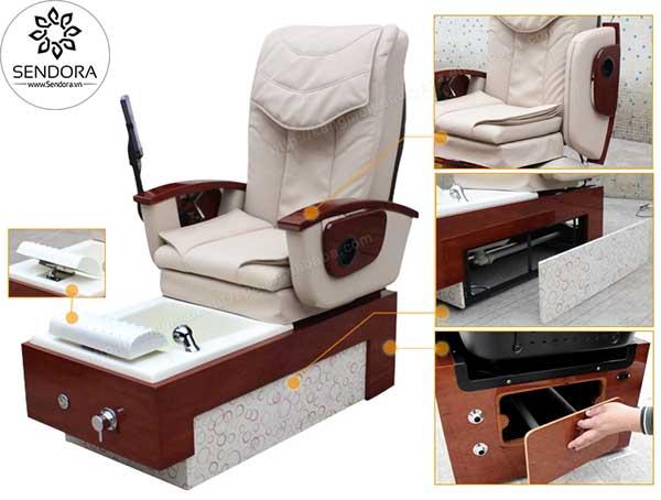 Các thành phần chi tiết của ghế ngồi làm nail có hệ thống massage Hi-MEC mẫu 11