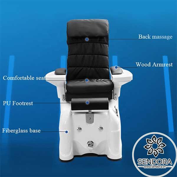 Các thành phần trên ghế massage làm nail Hi-MEC mẫu 12