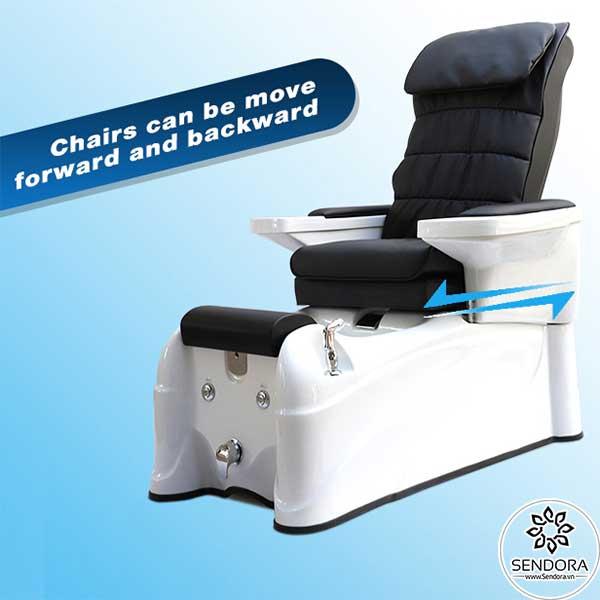 Ghế nail massage cao cấp Hi-MEC có thể dịch chuyển tới hoặc lui sao cho phù hợp với chiều cao của người ngồi