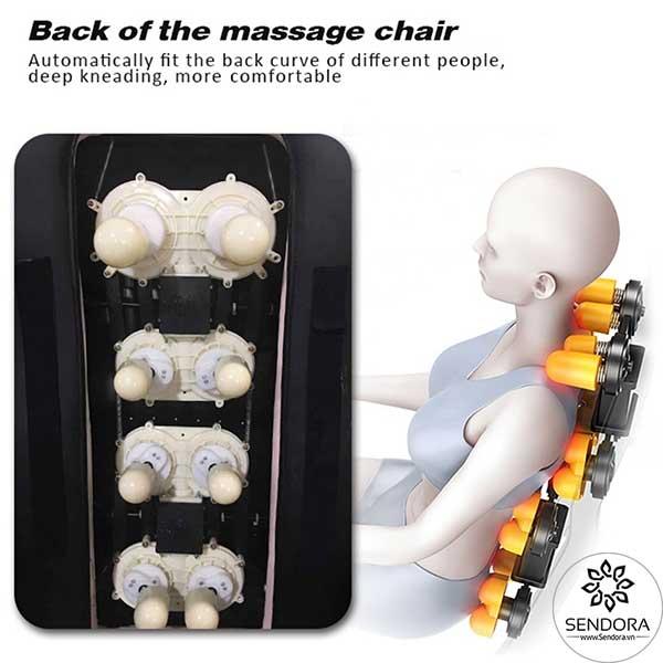 Hệ thống kneading massage trên ghế nail massage Hi-MEC mẫu 12 giúp mát xa thư giãn toàn thân