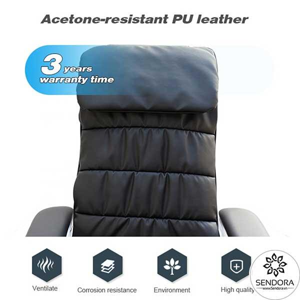 Da bọc đệm trên ghế làm từ chất liệu cao cấp kháng axeton siêu tốt