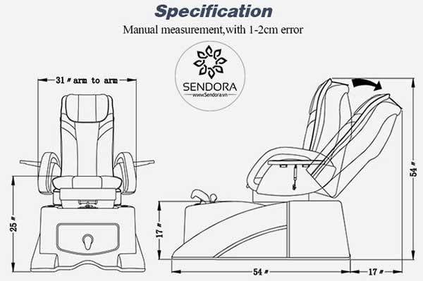 Kích thước các chiều của ghế nail Hi-MEC mẫu 12