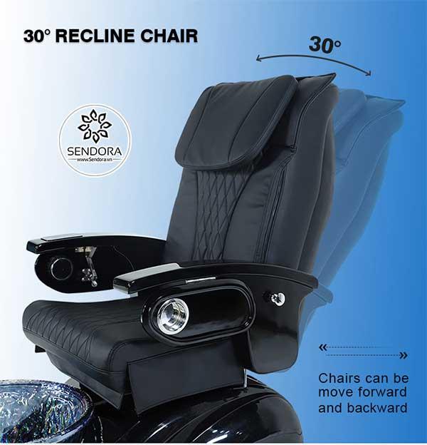 Tựa lưng của ghế massage nail cao cấp Hi-MEC mẫu 1 có thể nghiêng thêm 30 độ để tạo sự thoải mái cho khách hàng