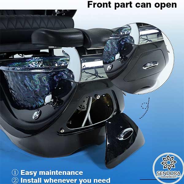 Dễ bảo trì, dễ sửa chữa nhờ nắp bảo vệ đặt ngay phía trước của ghế