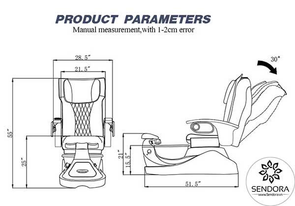 Kích thước của ghế Nail Massage cao cấp Hi-MEC mẫu 2