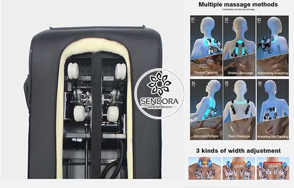 Hệ thống massage trên ghế làm nail cao cấp Hi-MEC mẫu 2 có thể thực hiện 6 chức năng massage khác nhau, cùng với 3 chế độ massage riêng biệt