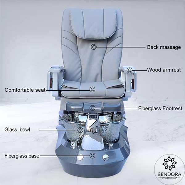 Các thành phần chính trên ghế Spa Pedicure cao cấp Hi-MEC mẫu 3