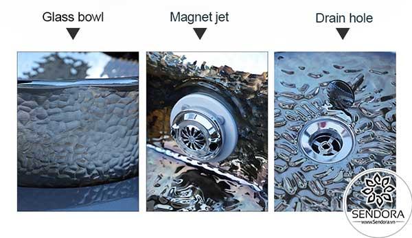 Hệ thống tạo xoáy nước có nam châm được tích hợp vào bồn rửa chân, đáy bồn có lỗ thoát nước