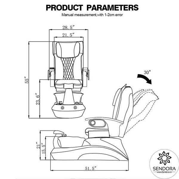 Kích thước của ghế Pedicure cao cấp Hi-MEC mẫu 3