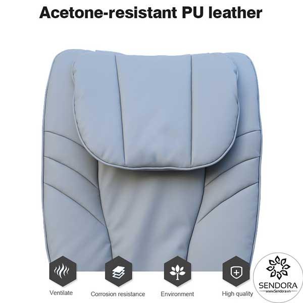 Da bọc đệm ghế được làm từ chất liệu Polyurethane cao cấp có khả năng khác axeton cực tốt mà vẫn đảm bảo sự đàn hồi, êm ái và thoải mái cho người sử dụng