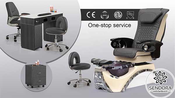 Bộ bàn ghế nail cao cấp Hi-MEC mẫu 4 gồm ghế Pedicure cao cấp, ghế thợ nail, bàn làm nail, ghế ngồi làm nail dành cho khách và tủ đựng đồ nail