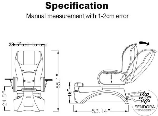 Kích thước của ghế Pedicure cao cấp Hi-MEC mẫu 4