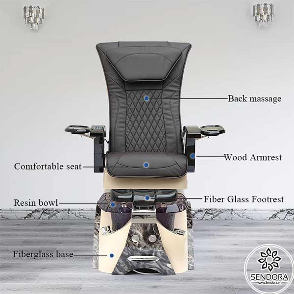 Các thành phần chính trên ghế làm nail cao cấp Hi-MEC mẫu 4