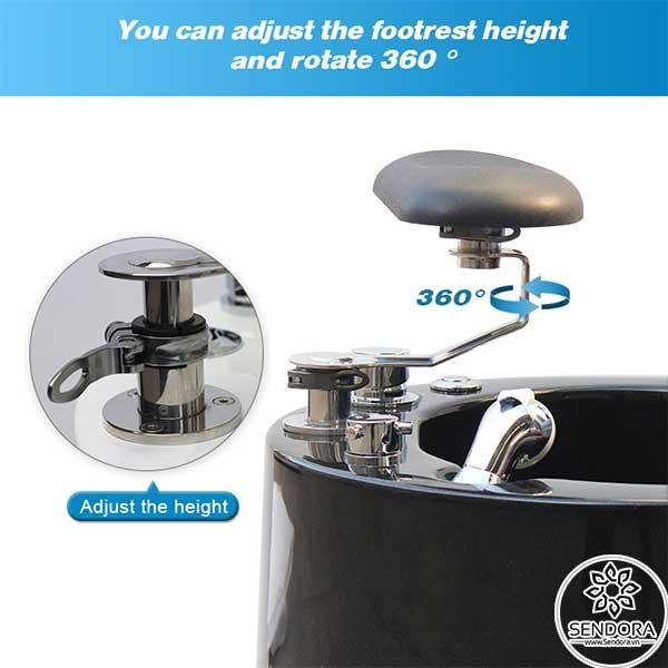 Kệ gác chân làm móng có thể thay đổi chiều cao cũng như cho phép xoay 360 độ để phù hợp với nhu cầu của khách hàng