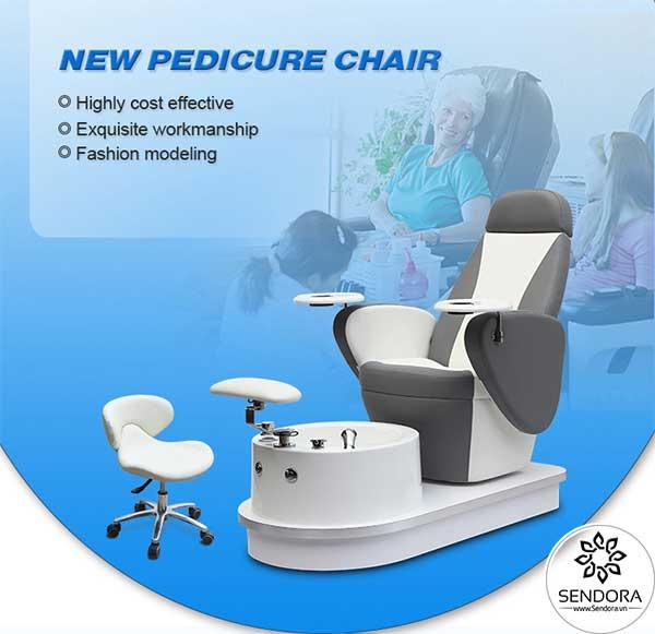 Ghế nail không massage Hi-MEC mẫu 5 màu trắng nên dùng kèm với các ghế thợ nail xoay màu trắng để tạo sự đồng bộ
